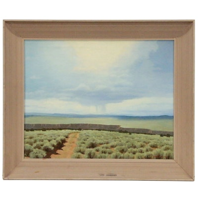 "Barry Atwater Oil Painting ""Rio Grande Gorge"", Mid 20th Century"