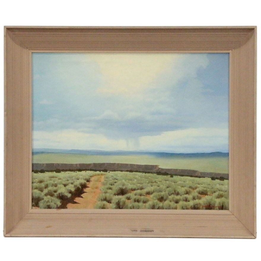 """Barry Atwater Oil Painting """"Rio Grande Gorge"""", Mid 20th Century"""