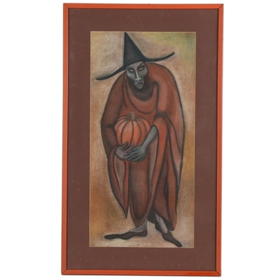 Pastel Portrait of a Witch Holding a Pumpkin