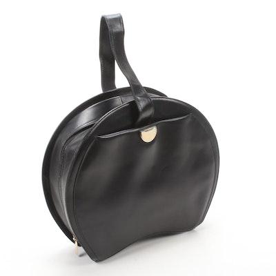 Guy Laroche Black Leather Circle Top Handle Bag
