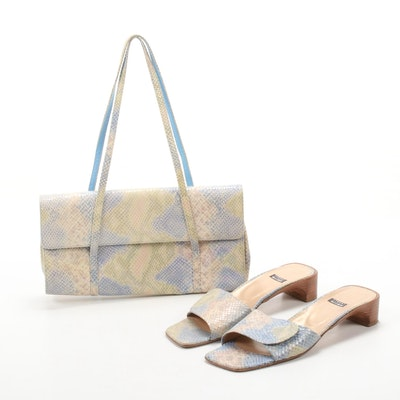 Stuart Weitzman Python Snakeskin Print Mules and Matching Shoulder Bag
