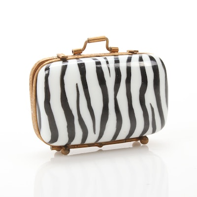 Hand-Painted Porcelain Zebra Vanity Suitcase with Matching Shoe Limoges Box