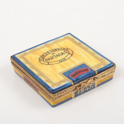 """""""Flor De Tabacos De Partagas 1845"""" Cuban Cigar Limoges Porcelain Box"""