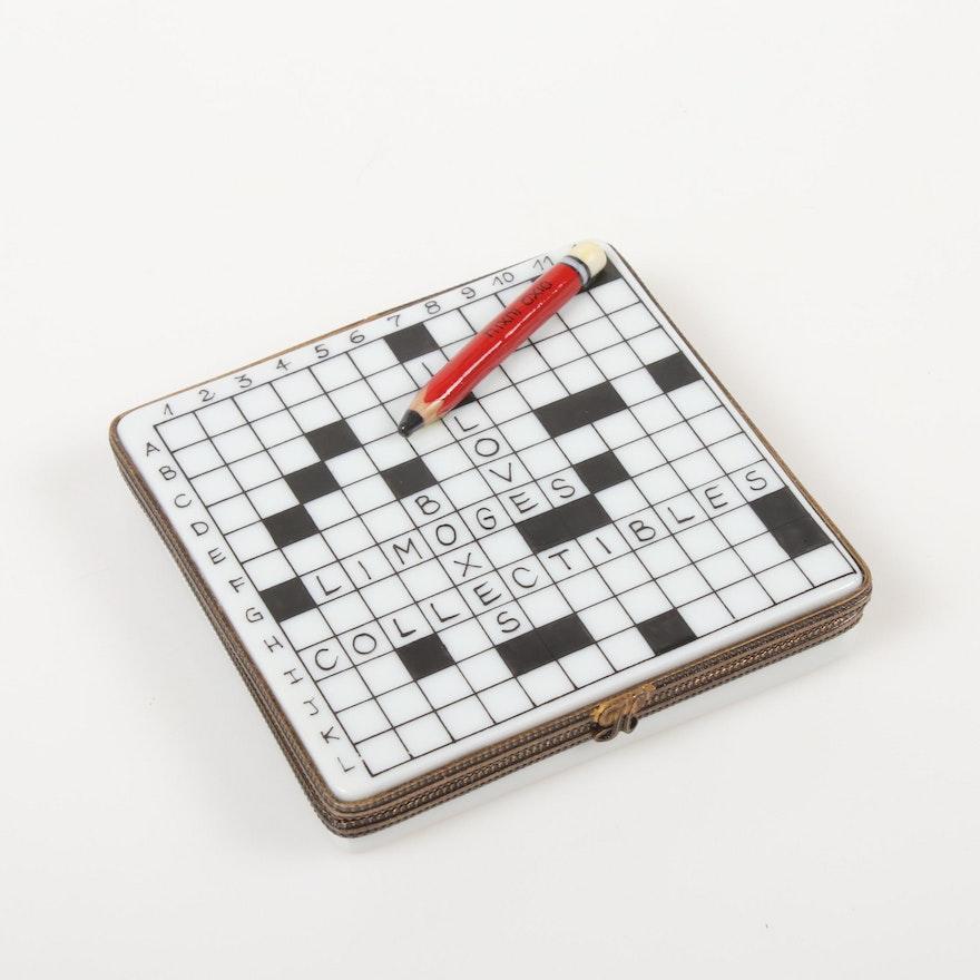 La Gloriette Crossword with Pencil Hand-Painted Porcelain Limoges Box