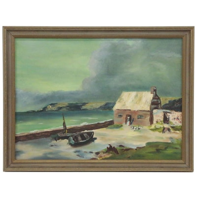 Oil Painting of a Seaside Cottage, 1951