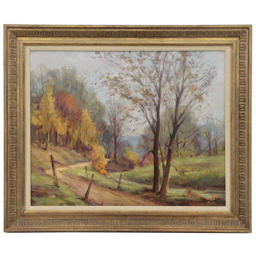 Frederick Wildermuth Rigley Fall Landscape Oil Painting, 20th Century