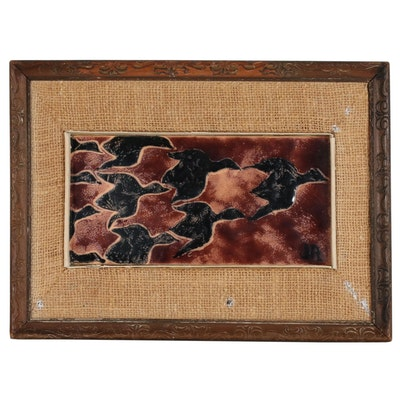 Jane L Sackstedder Austing Enamel Painting on Copper Plate, 20th Century