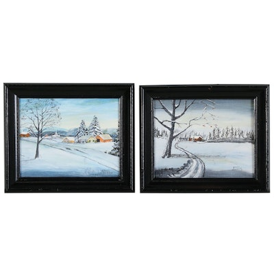 Set of Acrylic Winter Landscapes, 1978