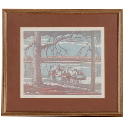 "August Mead Woodblock Print ""The Old Ferry"", 20th Century"