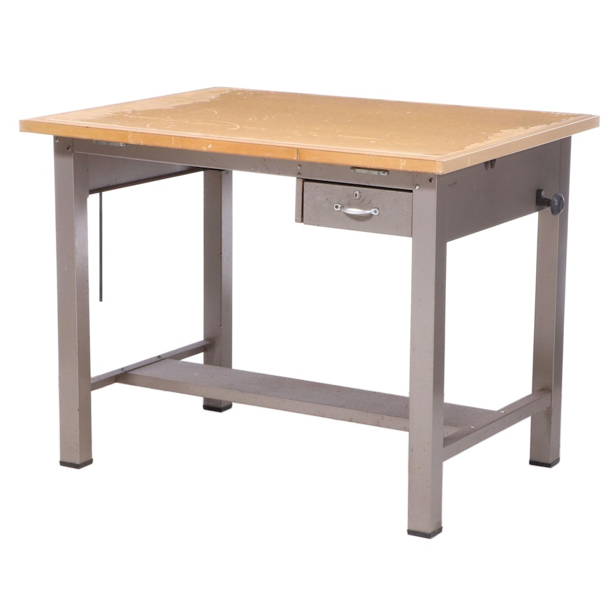 Industrial Metal and Laminate Top Drafting Table, Mid-20th Century