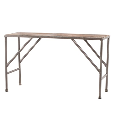 Metal and Wood Plank Top Console Table