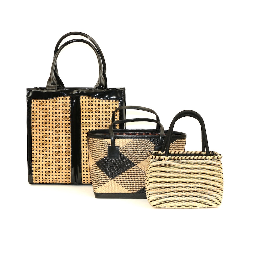 Wicker, Cane and Leather Top Handle Bags