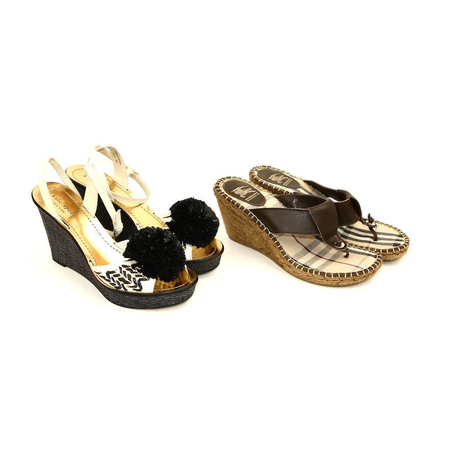 Burberry Leather Espadrille and Kate Spade New York Pom-Pom Raffia Wedge Sandals