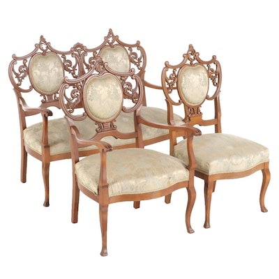 Three-Piece Late Victorian Birch Salon Suite, Late 19th/Early 20th Century