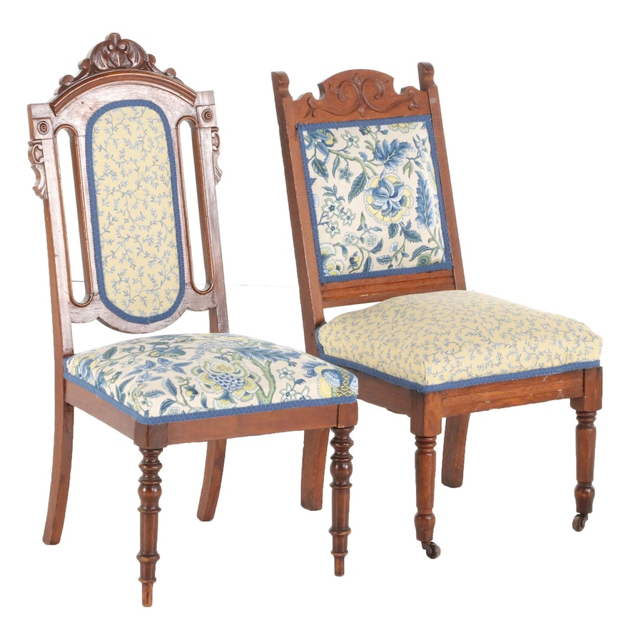 Victorian Walnut and Oak Upholstered Side Chairs, Late 19th/Early 20th Century