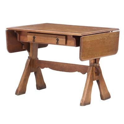 Unique Furniture Makers Oak Drop-Leaf Trestle Table, Mid-20th Century