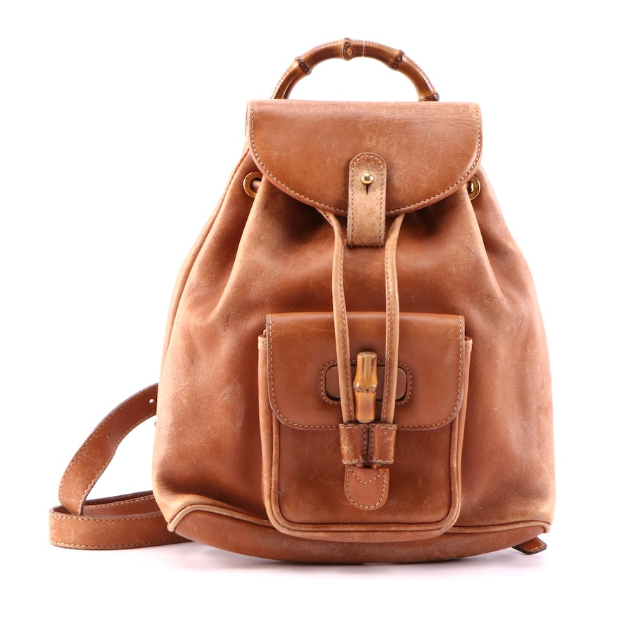 Gucci Bamboo Tan Leather Backpack Purse