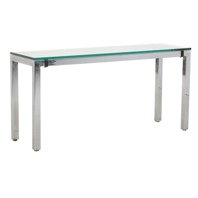 Tri-Mark Designs Chrome and Glass Top Console Table