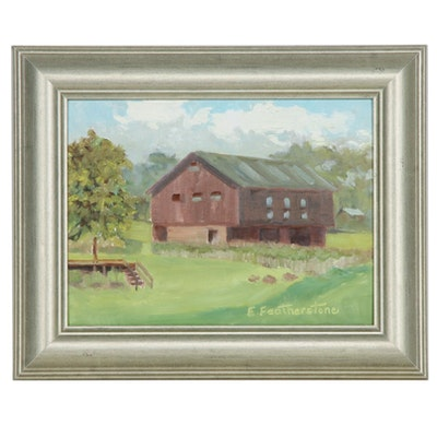 Emily Featherstone Oil Painting of a Barn