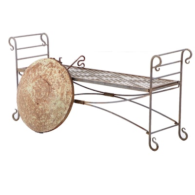 Iron Garden Bench and Hanging Gong, Late 20th Century