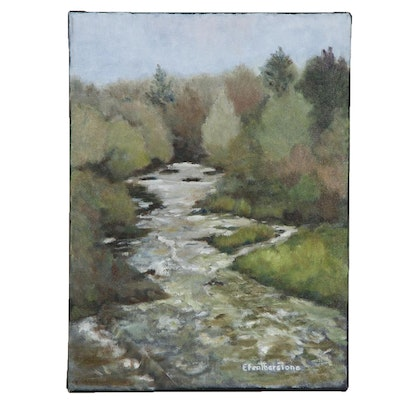Emily Featherstone River Scene Oil Painting