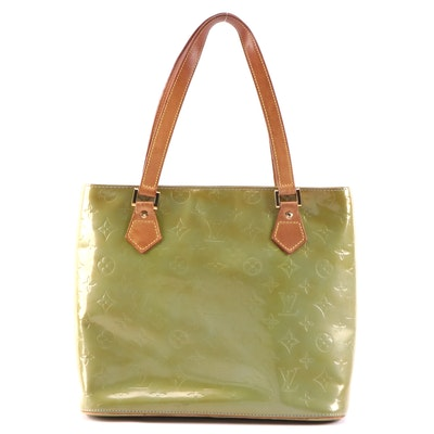 Louis Vuitton Houston Shoulder Bag in Lime Monogram Vernis and Vachetta Leather
