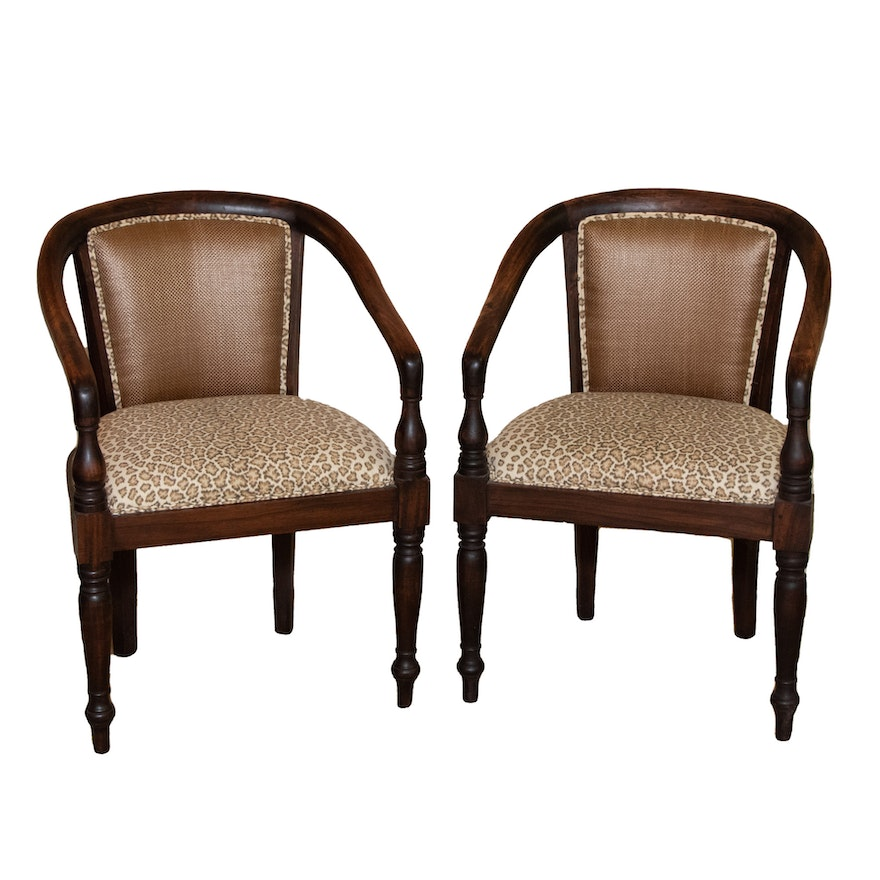 Two Animal Print Upholstered Armchairs