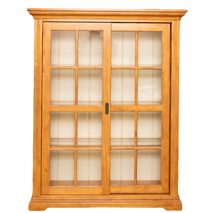 Pine and Sliding Glass Door Illuminated Display Cabinet