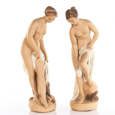 Chalkware Figurines of Bathers After Etienne Maurice Falconet