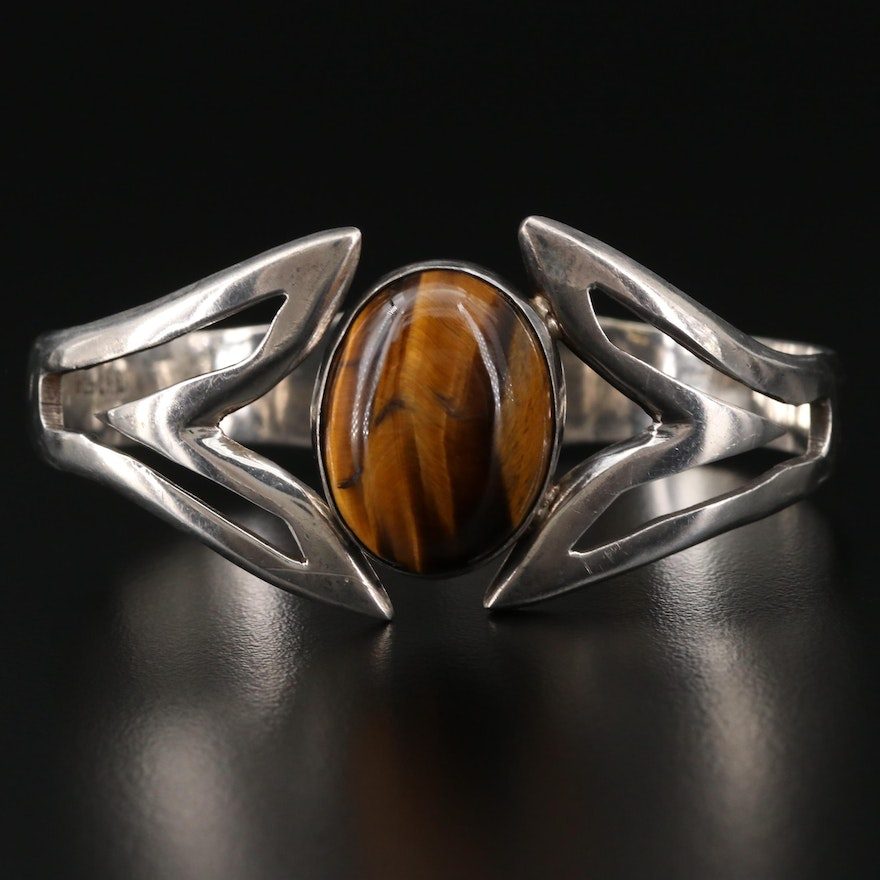 Mexican Sterling Silver Tiger's Eye Hinged Cuff Bracelet