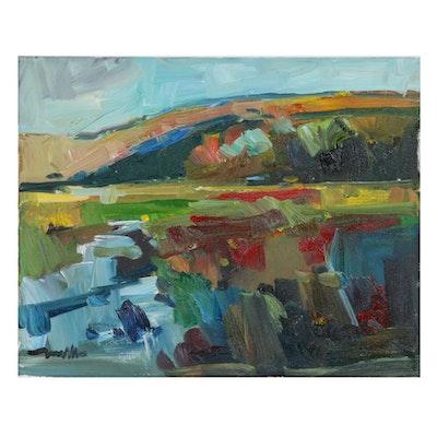 "Jose Trujillo Landscape Oil Painting ""Beautiful Mountainside"""