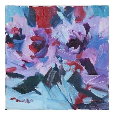"Jose Trujillo Oil Painting ""Purple Roses"", 2020"