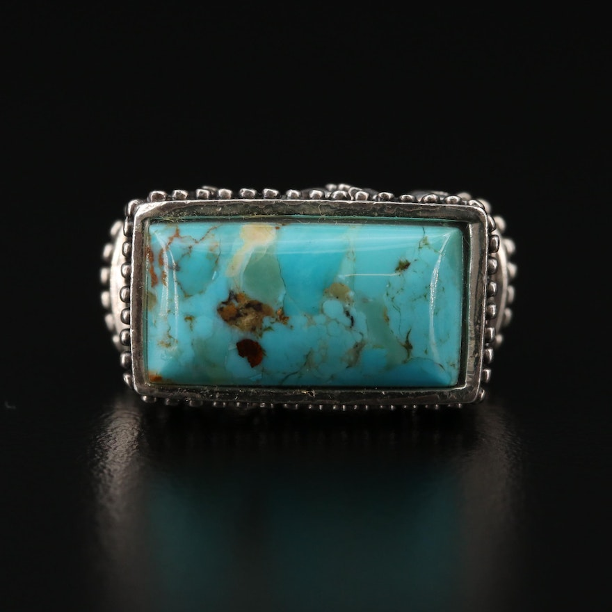 Sterling Silver Turquoise Bar Ring