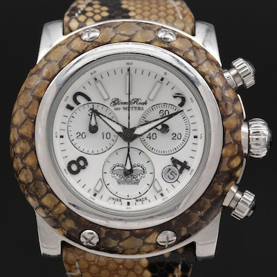 Glam Rock Miami Chronograph Python Skin and Stainless Steel Wristwatch