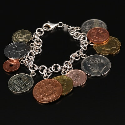 Sterling Silver Charm Bracelet with Foreign Coin Charms