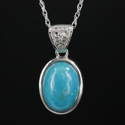 Sterling Silver Turquoise and White Topaz Pendant Necklace