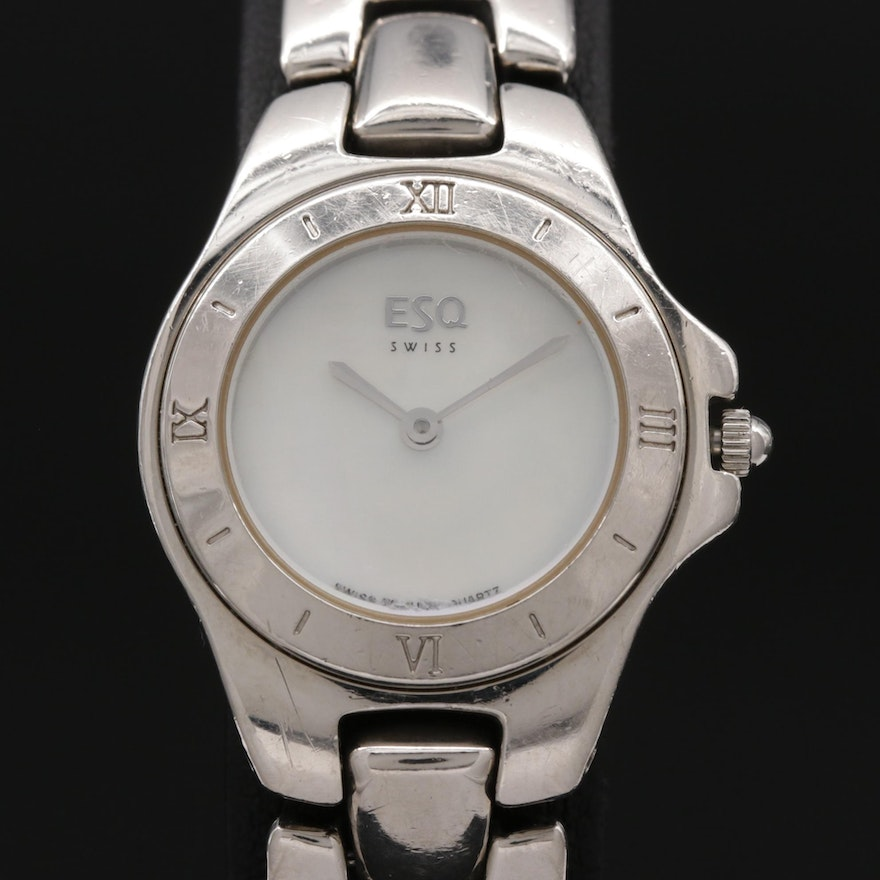 ESQ Stainless Steel and Mother of Pearl Dial Quartz Wristwatch
