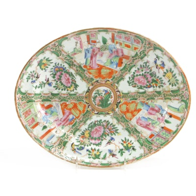 Chinese Hand-Painted Rose Medallion Porcelain Platter, Early to Mid 20th Century