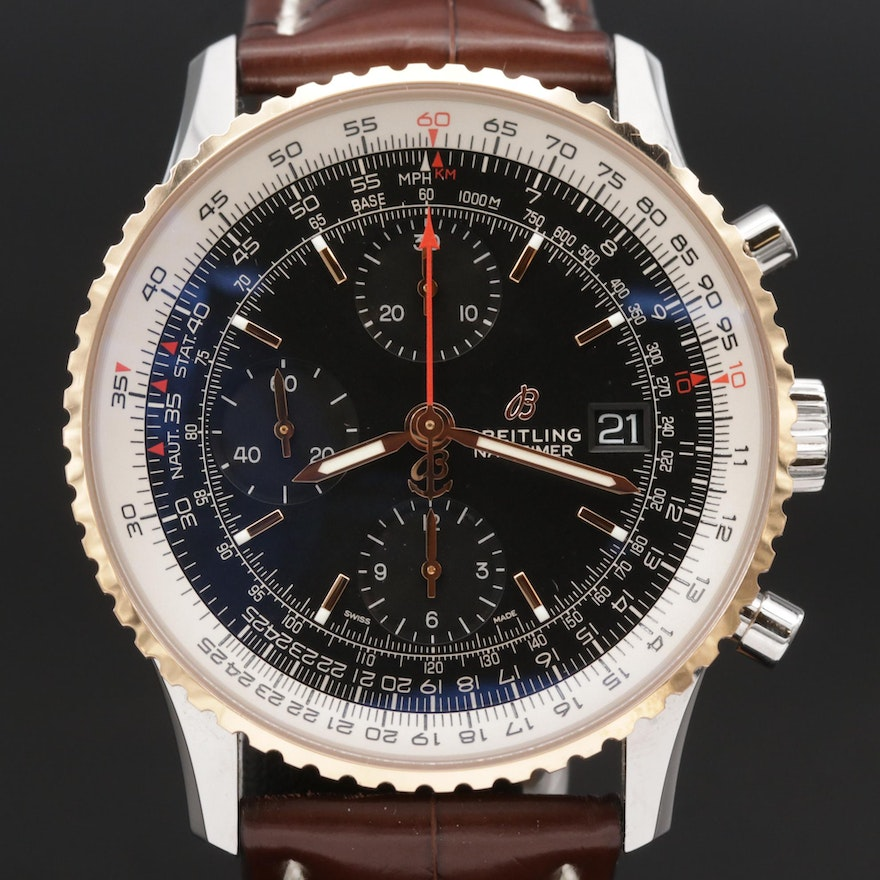 Breitling Navitimer 1 Chronograph 18K Rose Gold and Stainless Steel Wristwatch