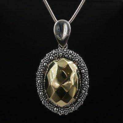 Michael Dawkins Sterling Enhancer Pendant on Fine Silver Snake Chain Necklace