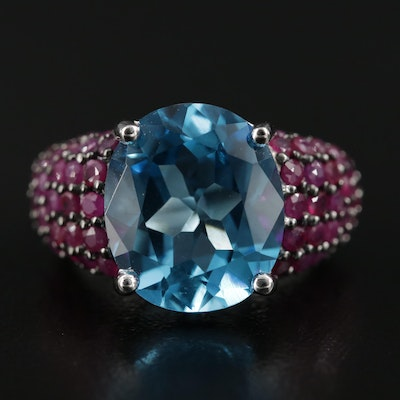 Sterling Silver Topaz and Ruby Ring