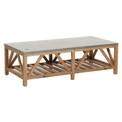 Farmhouse Style Hammered Metal Top Wooden Tiered Coffee Table