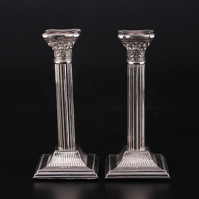 English Columnar Silver Plate Candlesticks, Mid to Late 20th Century