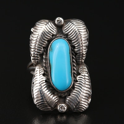 Southwestern Sterling Silver Turquoise Ring with Feather and Raindrop Applique
