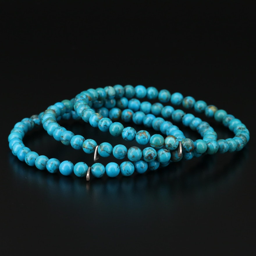 Sterling Silver Turquoise Bead Bangle Bracelets
