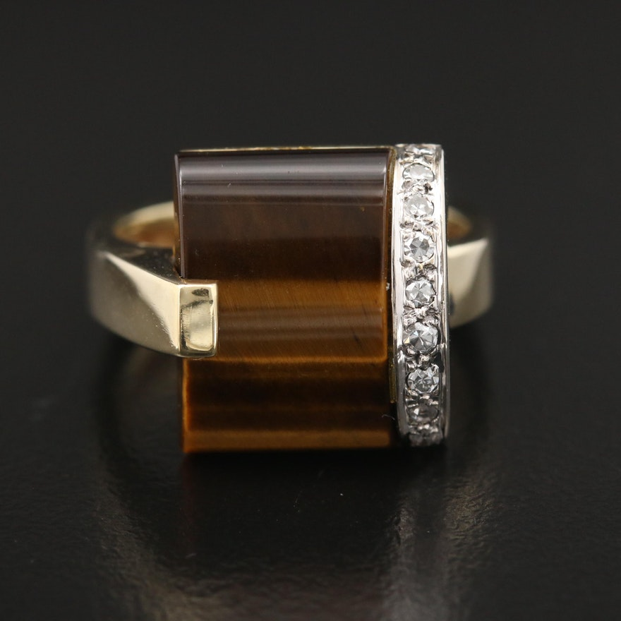 Contemporary Style 14K Tiger's Eye and Diamond Ring