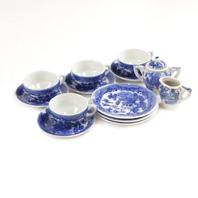 Japanese Miniature Blue and White Porcelain Tea Set, Mid-20th Century