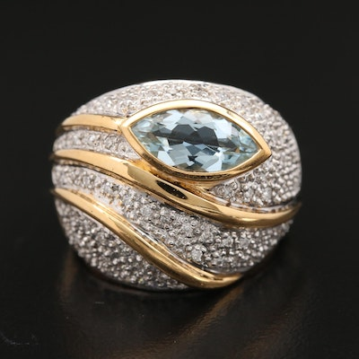 18K Gold Aquamarine and Diamond Ring