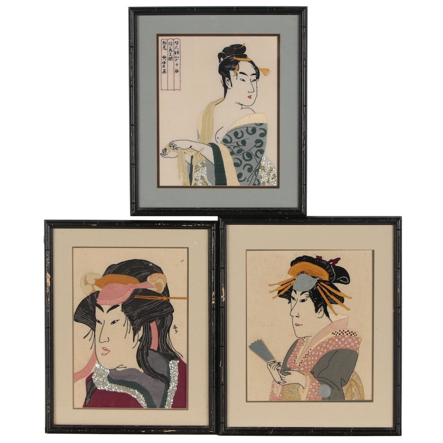 Embroidery Panels after Japanese Woodblock Printss