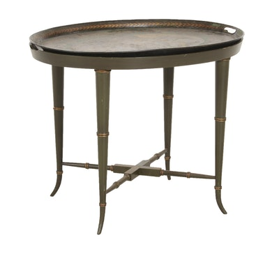 Green-Painted Wooden Tray Table with Tole Tray